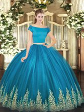 Short Sleeves Tulle Floor Length Zipper 15th Birthday Dress in Teal with Appliques