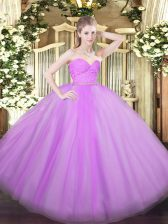 Modest Lilac Tulle Zipper Quinceanera Gowns Sleeveless Floor Length Beading and Lace