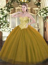 High Class Tulle and Sequined Sleeveless Floor Length Quinceanera Dress and Appliques