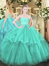 Nice Sweetheart Sleeveless Tulle Quinceanera Gowns Beading and Lace and Ruffled Layers Brush Train Zipper