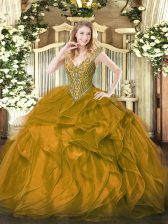 Pretty Sleeveless Floor Length Beading and Ruffles Lace Up Quince Ball Gowns with Brown