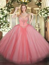 V-neck Sleeveless Tulle Sweet 16 Quinceanera Dress Beading Lace Up