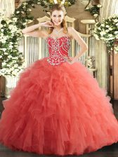 Tulle Sweetheart Sleeveless Lace Up Beading and Ruffles Quinceanera Gowns in Watermelon Red