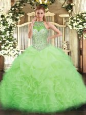 High End Halter Top Sleeveless Organza Vestidos de Quinceanera Beading and Ruffles and Pick Ups Lace Up