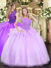 Designer Lilac Sleeveless Floor Length Beading Zipper Vestidos de Quinceanera