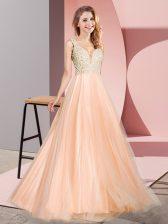 Pretty Peach V-neck Neckline Lace Prom Evening Gown Sleeveless Zipper