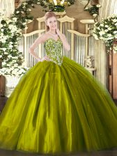 Fancy Olive Green Ball Gowns Beading 15 Quinceanera Dress Lace Up Tulle Sleeveless Floor Length