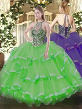 Fitting Lace Up Halter Top Beading and Ruffles Vestidos de Quinceanera Organza Sleeveless