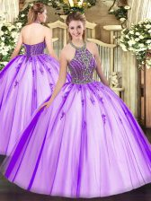 Modest Beading Quince Ball Gowns Eggplant Purple Lace Up Sleeveless Floor Length