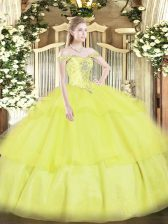 Artistic Yellow Lace Up Sweet 16 Dress Beading and Ruffled Layers Sleeveless Floor Length
