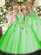 Sweet 16 Dress Military Ball and Sweet 16 and Quinceanera with Lace and Appliques Halter Top Sleeveless Lace Up