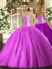 Luxurious Tulle Sweetheart Sleeveless Lace Up Beading 15th Birthday Dress in Lilac
