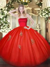 Latest Strapless Sleeveless Zipper 15 Quinceanera Dress Red Tulle