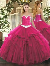 Excellent Ball Gowns Sweet 16 Quinceanera Dress Hot Pink Sweetheart Organza Sleeveless Floor Length Lace Up