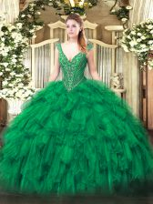 Green Organza Lace Up V-neck Sleeveless Floor Length Quinceanera Gown Beading and Ruffles
