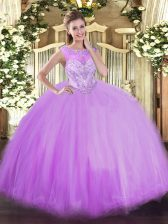 Scoop Sleeveless Sweet 16 Quinceanera Dress Floor Length Beading Lavender Tulle