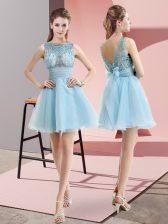 Admirable Aqua Blue Bateau Neckline Beading and Belt Prom Dress Sleeveless Backless
