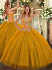 Sleeveless Tulle Floor Length Lace Up Quince Ball Gowns in Gold with Beading