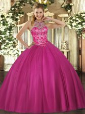 Hot Pink Quinceanera Dress Military Ball and Sweet 16 and Quinceanera with Beading Halter Top Sleeveless Lace Up
