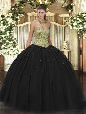 Black Sweetheart Neckline Beading Sweet 16 Dress Sleeveless Lace Up