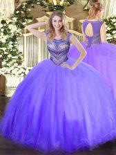 Luxurious Scoop Sleeveless Sweet 16 Dresses Floor Length Beading Lavender Tulle