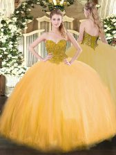 Luxury Tulle Sleeveless Floor Length Quince Ball Gowns and Beading
