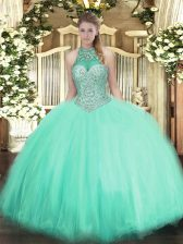 Apple Green Sleeveless Tulle Lace Up Sweet 16 Quinceanera Dress for Military Ball and Sweet 16 and Quinceanera
