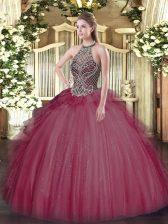 Burgundy Lace Up Halter Top Beading Vestidos de Quinceanera Tulle Sleeveless