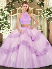 Sweetheart Sleeveless Quince Ball Gowns Floor Length Beading and Appliques and Ruffles Lilac Tulle