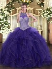 Fashionable Halter Top Sleeveless Lace Up Vestidos de Quinceanera Purple Tulle