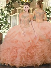 Glorious Sleeveless Beading and Ruffled Layers Clasp Handle Quinceanera Dresses