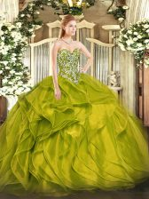 Olive Green Sweetheart Neckline Beading and Ruffles Sweet 16 Quinceanera Dress Sleeveless Lace Up