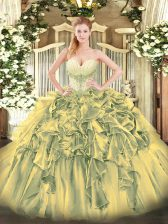 New Style Sweetheart Sleeveless Lace Up Quince Ball Gowns Olive Green Organza