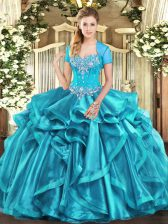 Sleeveless Floor Length Beading and Ruffles Lace Up Quinceanera Gowns with Aqua Blue