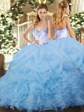 Lace Up 15 Quinceanera Dress Blue for Military Ball and Sweet 16 and Quinceanera with Beading and Ruffles and Pick Ups