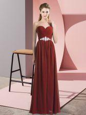 Sweetheart Sleeveless Prom Dresses Floor Length Beading Rust Red Chiffon