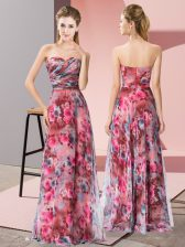 Top Selling Multi-color Sweetheart Neckline Pattern Prom Evening Gown Sleeveless Zipper