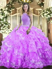 Lavender Sleeveless Organza Lace Up Quinceanera Gowns for Military Ball and Sweet 16 and Quinceanera