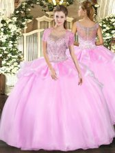 Pretty Floor Length Clasp Handle Quinceanera Gowns Baby Pink for Military Ball and Sweet 16 and Quinceanera with Beading and Ruffles