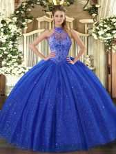 Fabulous Royal Blue Ball Gowns Beading and Embroidery Ball Gown Prom Dress Lace Up Tulle and Sequined Sleeveless Floor Length