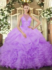Fashionable Ball Gowns Quince Ball Gowns Lavender Halter Top Organza Sleeveless Floor Length Lace Up