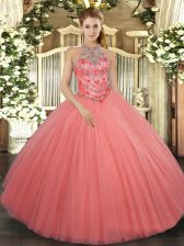 Modest Watermelon Red Tulle Lace Up Halter Top Sleeveless Floor Length Quince Ball Gowns Beading and Embroidery