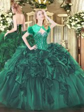 Flirting Dark Green Sleeveless Beading and Ruffles Floor Length Sweet 16 Quinceanera Dress