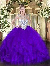 Purple Ball Gowns Tulle Scoop Sleeveless Beading and Ruffles Floor Length Zipper Vestidos de Quinceanera
