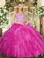 Clearance Fuchsia Vestidos de Quinceanera Sweet 16 and Quinceanera with Appliques and Ruffles Straps Sleeveless Lace Up