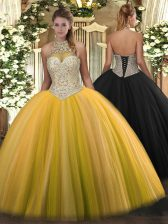 Halter Top Sleeveless Lace Up Sweet 16 Dresses Gold Tulle
