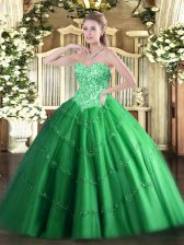 Comfortable Sleeveless Lace Up Floor Length Appliques Sweet 16 Quinceanera Dress