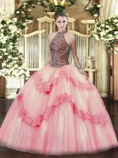 Pink Sleeveless Tulle Lace Up 15th Birthday Dress for Sweet 16 and Quinceanera