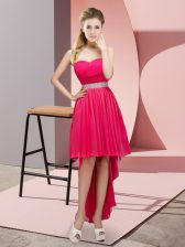 Vintage Hot Pink Sweetheart Neckline Beading Prom Gown Sleeveless Lace Up