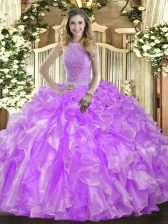 Cheap Sleeveless Beading and Ruffles Lace Up Ball Gown Prom Dress
